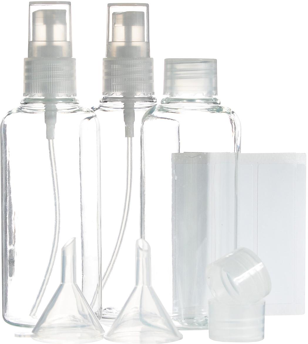 Набор контейнеров для жидкостей JustinCase, с аксессуарами, 12 предметов21173Набор JustinCase состоит из 3 контейнеров, 2 крышек-диспансеров и 2 воронок. Контейнеры, изготовленные из пластика, прекрасно подойдут для жидких средств поуходу за телом и волосами (шампунь, кондиционер, гель для душа, массажное масло),которые вы хотите взять в дорогу. Все контейнеры можно использовать много раз. Вкомплекте такого дорожного набора - 5 упаковок наклеек для подписи содержимогоконтейнеров.Все предметы набора расположены в удобной пластиковой сумочке-чехле на змейке. Высота стенок контейнера: 9 см. Диаметр горлышка контейнера: 1,5 см.Объем контейнеров: 100 мл