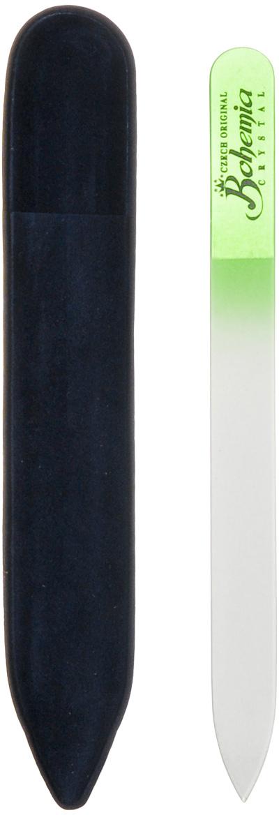 Bohemia Пилка для ногтей, стеклянная, цвет: зеленый, 14 см. 233cz-1402233cz-1402вм_зеленаяПилочка Bohemia  не травмирует ногтевую пластину и подходит для ногтей любого вида твердости и натуральности. Она изготовлена из знаменитого чешского стекла, в производстве которого используются природные компоненты, богатые минералами. Отличается необыкновенно красивым дизайном: сочетанием зеленого цвета, который переходит плавно в белый. Работа с ней доставляет приятные ощущения, особенно для ногтей с повышенной чувствительностью. Замшевый чехол поможет сохранить ее на долгий срок службы. Возможна санитарная обработка.Товар сертифицирован.Как ухаживать за ногтями: советы эксперта. Статья OZON Гид