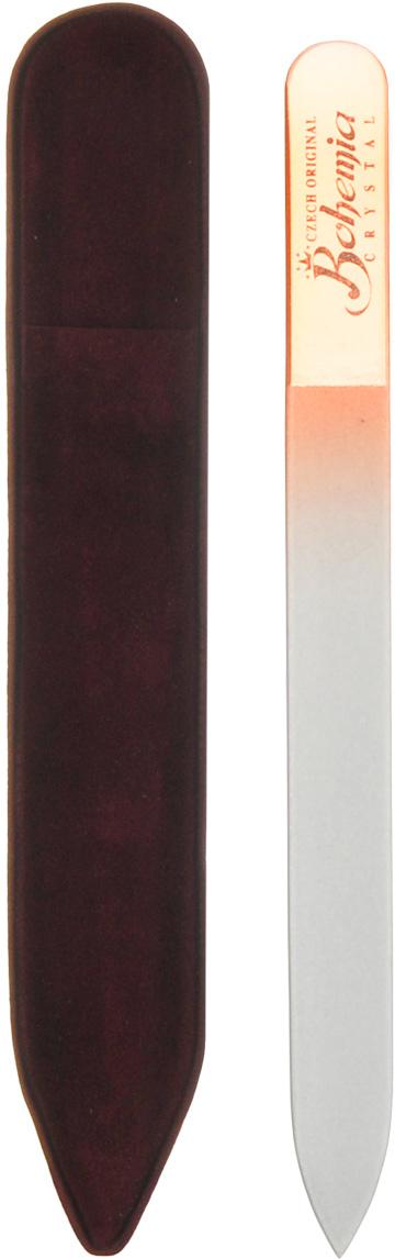 Bohemia Пилка для ногтей, стеклянная, цвет: оранжевый, 14 см. 233cz-1402233cz-1402вм_оранжеваяПилочка Bohemia  не травмирует ногтевую пластину и подходит для ногтей любого вида твердости и натуральности. Она изготовлена из знаменитого чешского стекла, в производстве которого используются природные компоненты, богатые минералами. Отличается необыкновенно красивым дизайном: сочетанием зеленого цвета, который переходит плавно в белый. Работа с ней доставляет приятные ощущения, особенно для ногтей с повышенной чувствительностью. Замшевый чехол поможет сохранить ее на долгий срок службы. Возможна санитарная обработка.Товар сертифицирован.Как ухаживать за ногтями: советы эксперта. Статья OZON Гид