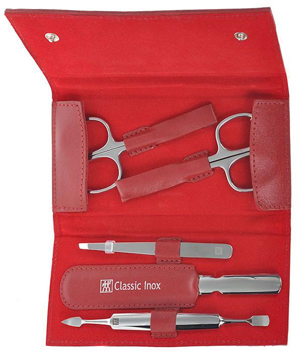 Zwilling Маникюрный набор Inox, цвет: красный, 5 предметов. 97436-00397436-003Маникюрный набор Zwilling Inox, состоит из 5 предметов: ножниц для ногтей, ножниц для кутикулы, скошенного пинцета, пилочки для ногтей и двойного инструмента для отодвигания кутикулы и чистки под ногтями. Инструменты изготовлены из высококачественной нержавеющей стали и хранятся в футляре красного цвета из натуральной кожи, закрывающимся небольшим клапаном на металлические кнопки.Уход: Инструменты предохранять от падения на пол. Время от времени смазывать чистым маслом область соединения, винт, внутреннюю часть и режущие кромки кусачек и ножниц. Использовать только по назначению! Затачивать инструменты у специалиста. Хранить в недоступном для детей месте. Характеристики:Материал: нержавеющая сталь. Длина ножниц для ногтей: 9,5 см. Длина ножниц для кутикулы: 9,5 см. Длина пинцета: 9 см. Общая длина пилочки: 12,5 см. Длина пилящей поверхности: 8 см. Длина маникюрного инструмента: 12 см. Материал футляра: металл, натуральная кожа. Размер футляра (ДШВ): 14 см х 7 см х 2,5 см. Размер упаковки (ДШВ): 16,3 см х 9 см х 3 см. Производитель: Вьетнам. Артикул: 97436-003. Товар сертифицирован.Как ухаживать за ногтями: советы эксперта. Статья OZON Гид