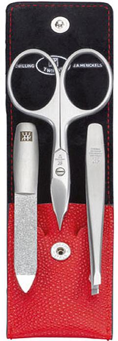 Zwilling Маникюрный набор Twinox, цвет: красный, 3 предмета. 97091-00297091-002Маникюрный набор Zwilling Twinox, состоит из 3 предметов: ножниц комбинированных для ногтей и кутикулы, скошенного пинцета, пилочки для ногтей. Инструменты изготовлены из высококачественной нержавеющей стали и хранятся в футляре красного цвета из натуральной кожи, закрывающемся небольшим клапаном на металлической кнопке.Уход: Инструменты предохранять от падения на пол. Время от времени смазывать чистым маслом область соединения, винт, внутреннюю часть и режущие кромки кусачек и ножниц. Использовать только по назначению! Затачивать инструменты у специалиста. Хранить в недоступном для детей месте. Характеристики:Материал: нержавеющая сталь. Длина ножниц для ногтей и кутикулы: 9 см. Длина пинцета: 9 см. Общая длина пилочки: 9 см. Длина пилящей поверхности: 4,4 см. Материал футляра: металл, натуральная кожа. Размер футляра (ДШВ): 10 см х 5,2 см х 1,5 см. Размер упаковки (ДШВ): 12 см х 6,8 см х 3 см. Производитель: Италия. Артикул: 97091-002. Товар сертифицирован.Как ухаживать за ногтями: советы эксперта. Статья OZON Гид
