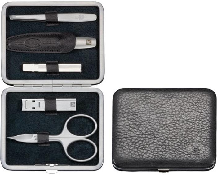 Zwilling Маникюрный набор TWINOX, цвет: черный, 5 предметов97178-004Комплектность: ножницы универсальные, пилка, пинцет, кусачки для ногтей, зубочистка. Инструменты изготовлены из высококачественной нержавеющей стали. Футляр из натуральной кожи. Инструменты предохранять от падения на пол. Время от времени смазывать чистымКак ухаживать за ногтями: советы эксперта. Статья OZON Гид