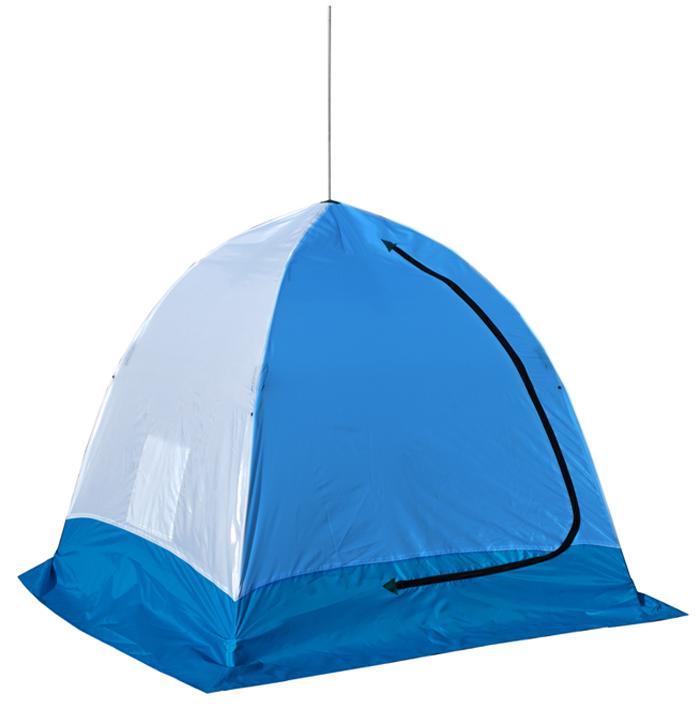 Палатка рыбака Стэк ELITE, 2-местная, полуавтомат брезент, цвет: белый, зеленый, голубой