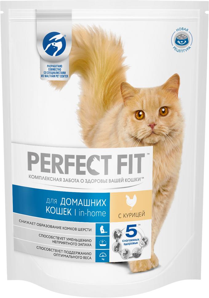 Корм сухой Perfect Fit In-Home для домашних кошек, с курицей, 190 г10187Сухой корм Perfect Fit In-Home создан специально для поддержания жизненного тонуса и хорошего самочувствия домашних лежебок. Особенности сухого корма Perfect Fit:- содержит натуральную клетчатку, помогающую контролировать образование комочков шерсти в организме кошки;- специальная рецептура позволяет снизить потребление калорий в каждом кормлении;- способствует поддержанию здоровой кожи и блестящей шерсти благодаря содержанию биотина, цинка и омега-6 кислот;- содержит экстракт Юкки Шидигера, помогающий уменьшить запах кошачьего туалета;- не содержит ароматизаторов, красителей и консервантов. Состав: высушенная мука из птицы (включая 22% курицы), кукурузный белок, высушенный животный белок, кукуруза, кукурузная мука, животный жир, рис, целлюлоза, высушенная печень, сухая свекла, дрожжи, хлорид калия, рыбий жир, экстракт юкки. Пищевая ценность в 100 г: белки - 41 г, жиры - 14,5 г, зола - 8 г, клетчатка - 3,5 г, кальций - 1,2 г, фосфор - 1,0 г, жирные кислоты (омега 3) - 0,4 г, жирные кислоты (омега 6) - 3,3 г, биотин (В7) - 0,02 мг, таурин - 194,5 г, витамин А - 1751 МЕ, витамин D3 - 181 МЕ, витамин Е - 84,5 мг, витамин С - 39 мг, витамины группы В, сульфат цинка - 13,5 мг.Энергетическая ценность в 100 г: 402 ккал.Вес: 190 г.Товар сертифицирован. Perfect Fit - высококачественное сухое питание, специально разработанное для здоровья кошек, в соответствии с потребностями организма.