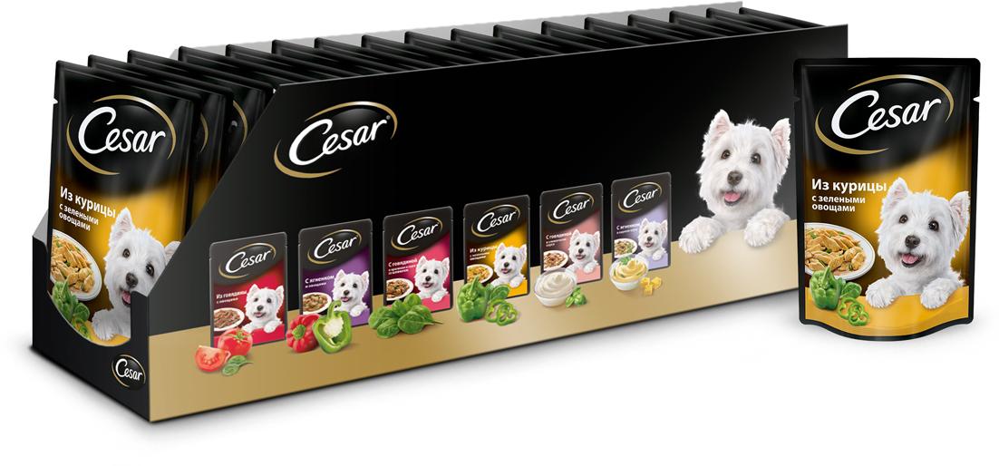 Консервы Cesar для взрослых собак, с курицей и зелеными овощами, 100 г, 24 шт