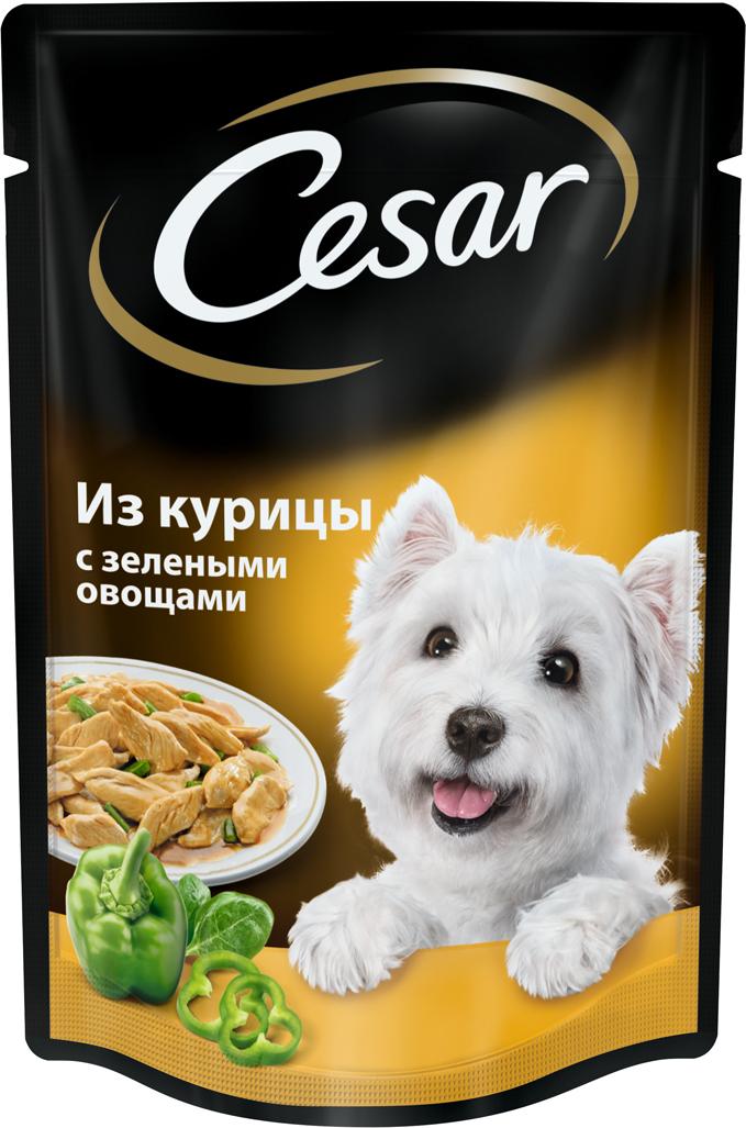 Консервы Cesar, для взрослых собак, с курицей и зелеными овощами, 100 г консервы для собак зоогурман спецмяс с индейкой и курицей 300 г