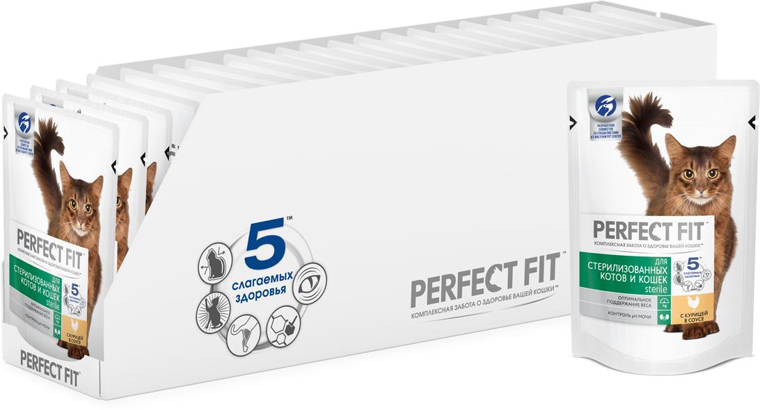 """Консервы Perfect Fit """"Sterile"""" для кастрированных котов и стерилизованных кошек, курица в соусе, 85 г х 24 шт"""