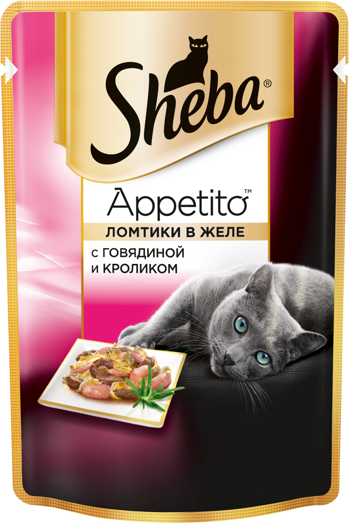 Консервы для взрослых кошек Sheba Appetito, с говядиной и кроликом в желе, 85 г sheba appetito ломтики в желе с говядиной и кроликом для кошек 85г 10161708