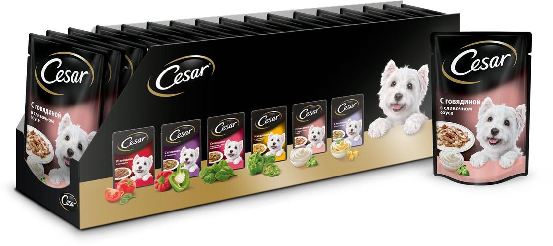 Консервы для собак Cesar, говядина в сливочном соусе, 100 г, 24 шт cesar 100g 8
