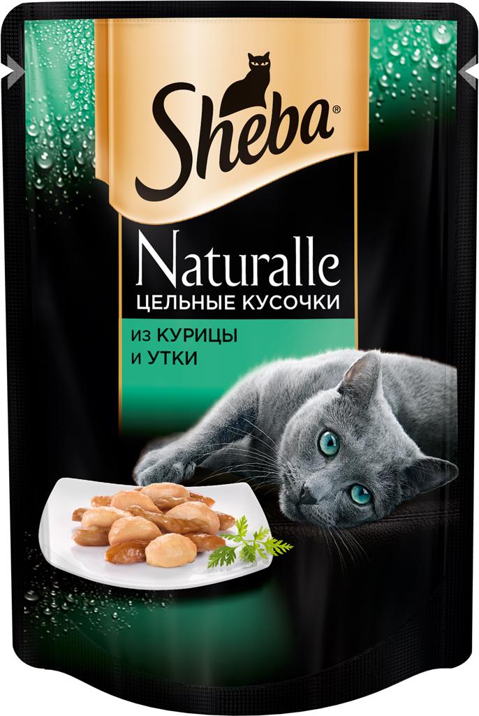 Консервы для кошек Sheba Naturalle, с курицей и уткой, 80 г корм для кошек sheba naturalle курица утка конс пауч 80г