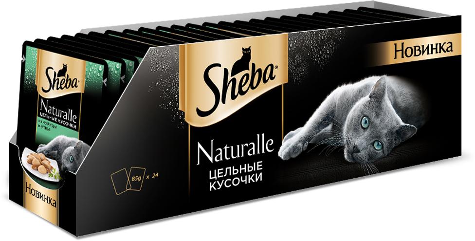 Корм консервированный Sheba Naturalle, для взрослых кошек, с курицей и уткой, 80 г, 24 шт sheba appetito ломтики в желе с говядиной и кроликом для кошек 85г 10161708