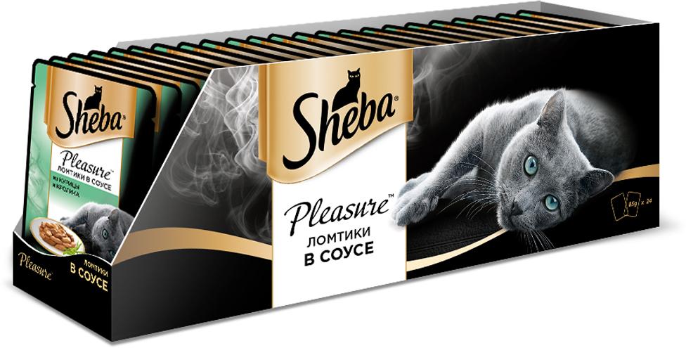 Консервы для взрослых кошек Sheba Pleasure, с курицей и кроликом в соусе, 85 г х 24 шт sheba appetito ломтики в желе с говядиной и кроликом для кошек 85г 10161708