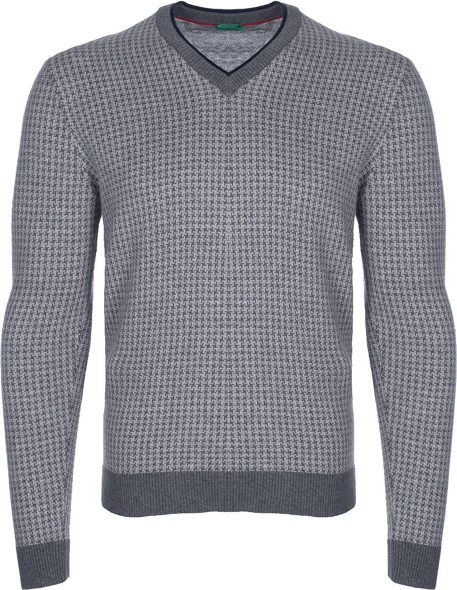 Пуловер мужской United Colors of Benetton, цвет: серый. 12EAK4314_902. Размер L (50/52)