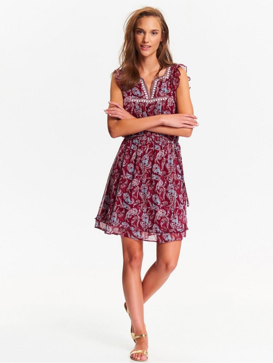Платье Top Secret, цвет: бордовый, голубой. SSU1968CE. Размер 36 (44)SSU1968CEОчаровательное летнее платье Top Secret выполнено из легкого полупрозрачного полиэстера с оригинальным принтом. Модель приталенного силуэта с короткими рукавами-крылышками и V-образным вырезом горловины. Подол изделия декорирован оборкой. В таком платье вы всегда будете в центре внимания!