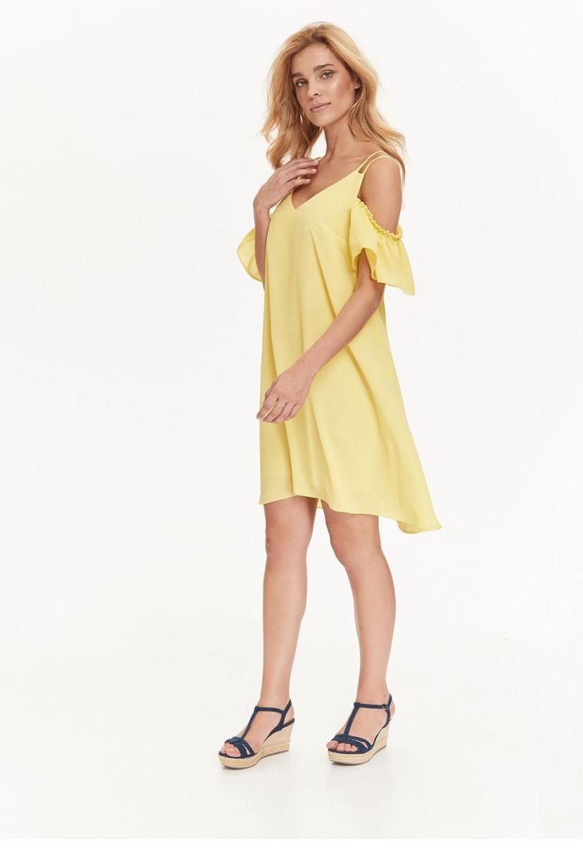 Платье Top Secret, цвет: желтый. SSU1942ZO. Размер 36 (44)SSU1942ZOИзящное платье Top Secret, изготовленное из полиэстера, станет отличным дополнением к вашему гардеробу. Модель на тонких бретелях имеет V-образный вырез горловины и трапециевидный крой.