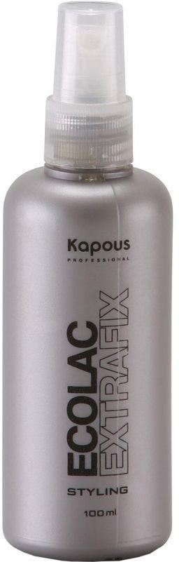Kapous Professional Эколак (жидкий лак) 100 мл65Эколак (жидкий лак) сильной фиксации Kapous. Лак идеален для творческого моделирования и дизайна на длинных волосах. Придаёт неподвижную фиксацию, эластичность и блеск. Лак для волос сверхсильной фиксации подходит для любого типа волос и используется в различных стилях работ. Гарантирует продолжительную фиксацию, быстро сохнет, придает блеск не оставляя следов, устойчив к влаге. Защищает волосы от вредного воздействия солнечных лучей и от чрезмерного иссушения. Экологическое мелкодисперсное распыление без газа. Результат: Подчёркивает стиль и надолго фиксирует гладкие причёски (вне зависимости от факторов окружающей среды).