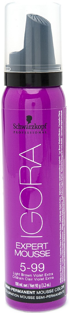 Igora Expert Mousse Тонирующий мусс для волос 5-99 Светлый коричневый фиолетовый экстра 100 мл1845704/257960Замечательное средство подарит вашим локонам изумительный, глубокий цвет.Продукт позаботится о здоровье волос, укрепив их, сделав крепкими и эластичными.Мусс не проникает в структуру, а лишь обволакивает их и постепенно смывается.Роскошные, ухоженные, с великолепным насыщенным цветом. Крепкие, послушные и шелковистые. Именно такими ваши волосы сделает тонирующий мусс от Schwarzkopf. Замечательное средство подарит вашим локонам изумительный, глубокий цвет. Продукт позаботится о здоровье волос, укрепив их, сделав крепкими и эластичными.Представленный мусс окутает ваши локоны бесподобным цветом. Самое главное, что для этого вам нужно лишь нанести средство на волосы и подождать пять минут. Если желаете получить более насыщенный оттенок – двадцать минут. В отличие от краски для волос, мусс не проникает в структуру, а лишь обволакивает их и постепенно смывается Приобретите тонирующий мусс от Schwarzkopf, и он в считанные мгновения подарит вашим волосам роскошный цвет, сделав их еще краше.