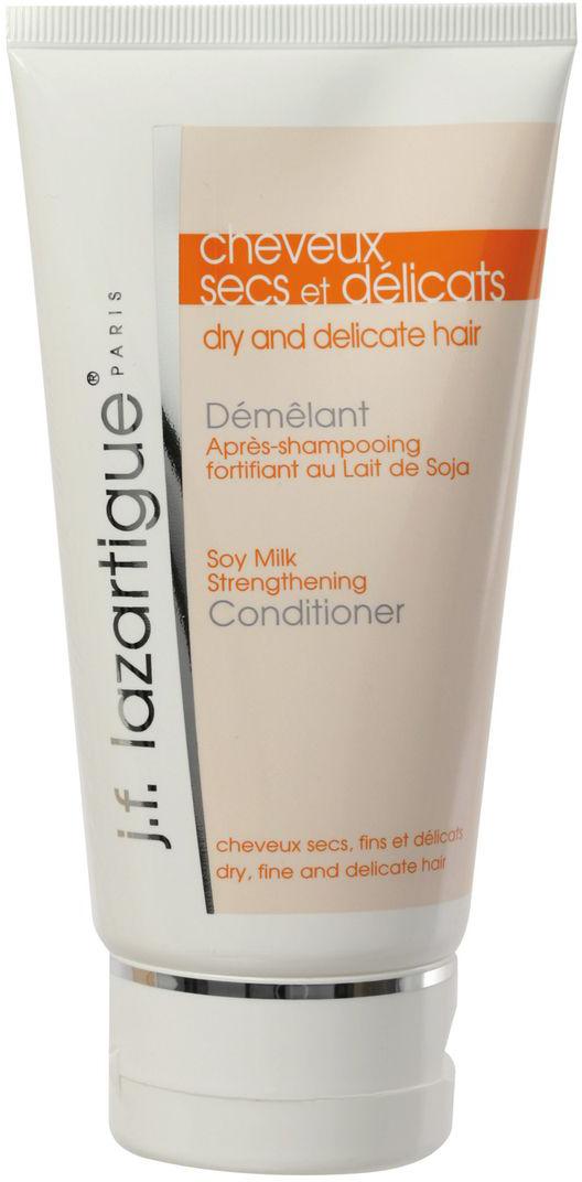 J.F.Lazartigue Укрепляющий кондиционер с соевым молочком 150 мл01319Кондиционер облегчает расчесывание волос, делает тонкие волосы более плотными и послушными, восстанавливает и придает им жизненную силу. Соевое молочко смягчает и укрепляет стрежни волос. Касторовое масло, богатое витамином Е, действует как антиоксидант, предотвращая разрушение кератиновых волокон волос свободными радикалами, придает превосходный блеск. Рекомендуется для тонких сухих и ослабленных волос.