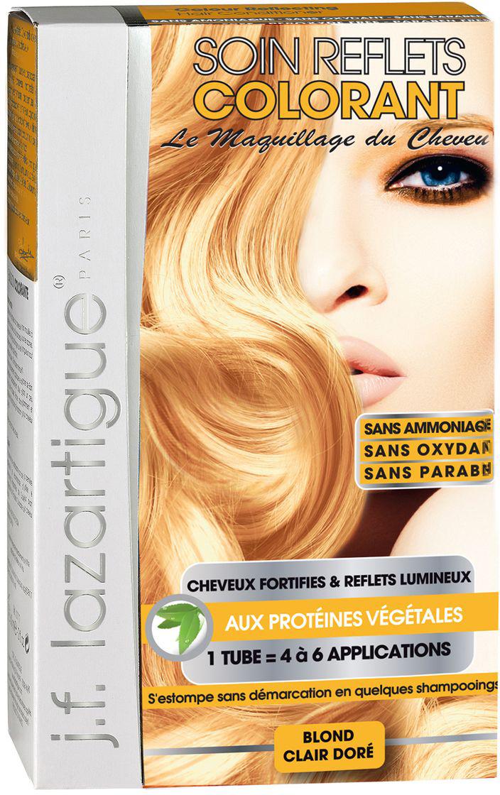 J.F.Lazartigue Оттеночный кондиционер для волос Золотистый светлый блондин 100 мл715018Оттеночный кондиционер J.F.LAZARTIGUE – это лечебный макияж для Ваших волос. Два эффекта: кондиционирование волос и легкий оттенок. Особенности: придает новый или более теплый (или холодный) оттенок, делает тон темнее или акцентирует цвет, оживляет естественный цвет или придает яркость тусклым и выцветшим на солнце волосам. Закрашивает небольшой процент седины! После мытья волос шампунем (3-6 раз) смывается. Для достижения индивидуального оттенка можно смешать два разных кондиционера: добавить к выбранному ТЕМНЫЙ РЫЖИЙ (Auburn), МЕДНЫЙ (Copper) и т.п. Не осветляет волосы. Не содержит аммиака и перекиси водорода. Не содержит парабенов. Не предназначен для окрашивания бровей и ресниц.