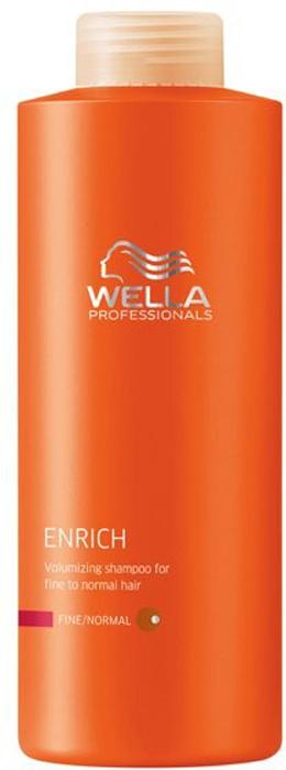 Wella Питательный шампунь Enrich Line для объема нормальных и тонких волос, 1000 мл00118099Питательный шампунь от Wella придаст объем нормальным и тонким волосам. Экстракт шелка, входящий в состав, сделает волосы удивительно мягкими. Шампунь обеспечивает волосам оптимальный уход, свежесть, силу, объем, упругость. Данное средство буквально оживляет ослабленные волосы.