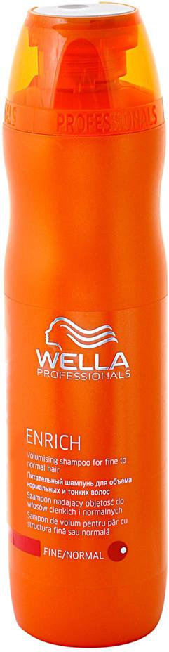 Wella Питательный шампунь Enrich Line для объема нормальных и тонких волос, 250 мл116415Питательный шампунь от Wella придаст объем нормальным и тонким волосам. Экстракт шелка, входящий в состав, сделает волосы удивительно мягкими. Шампунь обеспечивает волосам оптимальный уход, свежесть, силу, объем, упругость. Данное средство буквально оживляет ослабленные волосы.