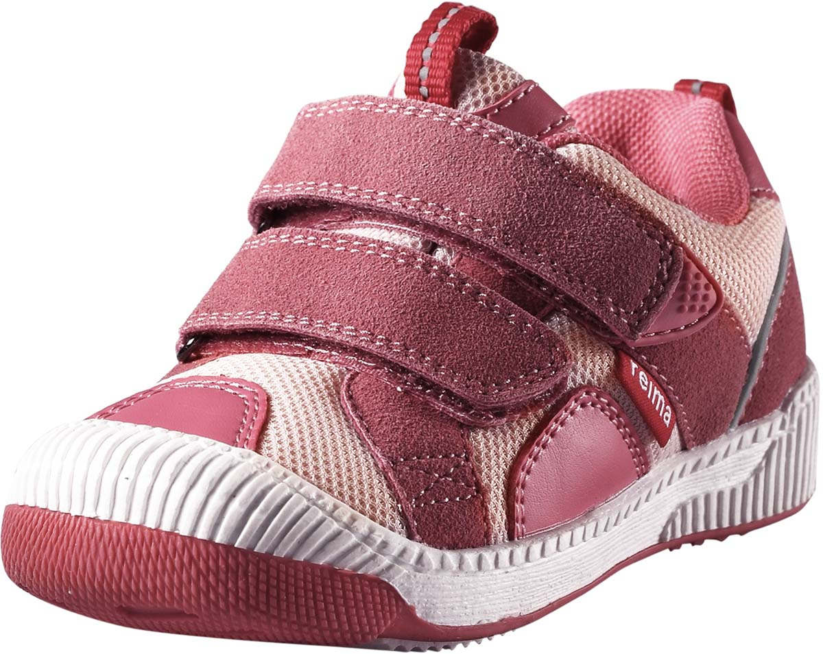 Кроссовки детские Reima Knappe, цвет: розовый. 5693003290. Размер 235693003290Стильные детские кроссовки Knappe от Reima прекрасно подойдут для ежедневной носки. Модель выполнена из текстиля со вставками из полиуретана. Резиновый каркас носка защищает детскую стопу от ударов. Ремешки на застежках-липучках надежно фиксируют модель на ноге. Задник и язычок оснащены ярлычками, предназначенными для удобства обувания. Мягкая стелька из EVA-материала с текстильной поверхностью гарантирует максимальный комфорт при ходьбе. Термопластичная резиновая подошва с рифлением гарантирует отличное сцепление с поверхностью.Удобные кроссовки придутся по душе вам и вашему ребенку!