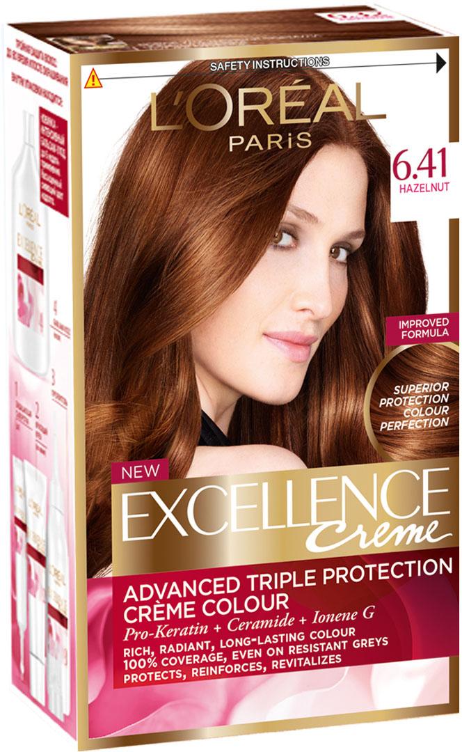 LOreal Paris Стойкая крем-краска для волос Excellence, оттенок 6.41, Элегантный медныйA4381228Крем-краска для волос Экселанс защищает волосы до, во время и после окрашивания. Уникальная формула краскииз Керамида, Про-Кератина и активного компонента Ионена G, которые обеспечивают 100%-ное окрашивание седины и способствуют длительному сохранению интенсивности цвета. Сыворотка, входящая в состав краски, оказывает лечебное действие, восстанавливая поврежденные волосы, а густая кремовая текстура краски обволакивает каждый волос, насыщая его интенсивным цветом. Специальный бальзам-уход делает волосы плотнее, укрепляет их, восстанавливая естественную эластичность и силу волос. В состав упаковки входит: защищающая сыворотка (12 мл), флакон-аппликатор с проявителем (72 мл), тюбик с красящим кремом (48 мл), флакон с бальзамом-уходом (60 мл), аппликатор-расческа, инструкция, пара перчаток.1. Укрепляет волосы 2. Защищает их 3. Придает волосам упругость 3. Насыщеннный стойкий сияющий цвет 4. Закрашивает до 100% седых волос