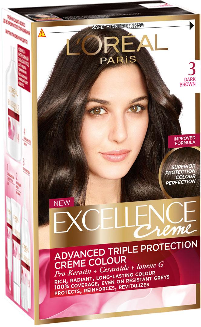 LOreal Paris Стойкая крем-краска для волос Excellence, оттенок 3, Темно-каштановыйA3671328Крем-краска для волос Экселанс защищает волосы до, во время и после окрашивания. Уникальная формула краскииз Керамида, Про-Кератина и активного компонента Ионена G, которые обеспечивают 100%-ное окрашивание седины и способствуют длительному сохранению интенсивности цвета. Сыворотка, входящая в состав краски, оказывает лечебное действие, восстанавливая поврежденные волосы, а густая кремовая текстура краски обволакивает каждый волос, насыщая его интенсивным цветом. Специальный бальзам-уход делает волосы плотнее, укрепляет их, восстанавливая естественную эластичность и силу волос. В состав упаковки входит: защищающая сыворотка (12 мл), флакон-аппликатор с проявителем (72 мл), тюбик с красящим кремом (48 мл), флакон с бальзамом-уходом (60 мл), аппликатор-расческа, инструкция, пара перчаток.1. Укрепляет волосы 2. Защищает их 3. Придает волосам упругость 3. Насыщеннный стойкий сияющий цвет 4. Закрашивает до 100% седых волос