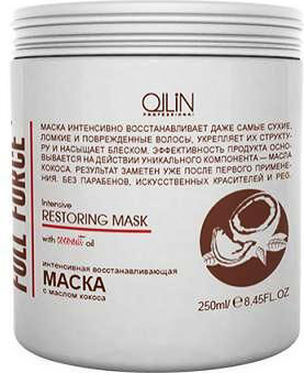 Ollin Интенсивная восстанавливающая маска с маслом кокоса Full Force Intensive Restoring Mask 250 мл greymy professional интенсивная восстанавливающая маска на основе кератина и витаминов improving mask 750 мл