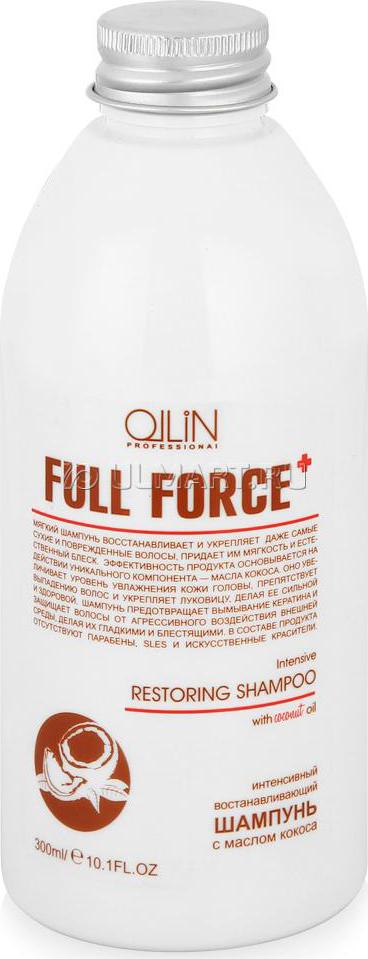 Ollin Интенсивный восстанавливающий шампунь с маслом кокоса Full Force Intensive Restoring Shampoo 300 мл725805Intensive Restoring Shampoo - шампунь интенсивный восстанавливающий с маслом кокоса. Укрепляет сильно поврежденные и сухие волосы. Обеспечивает необходимую защиту от негативного воздействия внешней среды и предотвращает вымывание кератина. Масло кокоса увеличивает уровень увлажнения кожи головы и способствует восстановлению поврежденных волос. Шампунь делает волосы мягкими и гладкими.