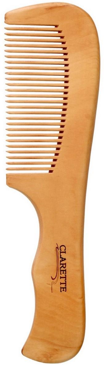 Clarette Расческа для волос деревянная с ручкой, цвет: бежевыйCWC 485Clarette представляет серию из натурального персикового дерева. Деревянная расческа является самой полезной и безопасной для наших волос. Она максимально щадит волосы: они не так сильно секутся, ломаются, меньше электризуются, выглядят здоровыми, блестящими и шелковистыми. Деревянной расческой можно наносить на волосы всевозможные маски и бальзамы, т. к. древесина не вступает в химическую реакцию с косметическими средствами