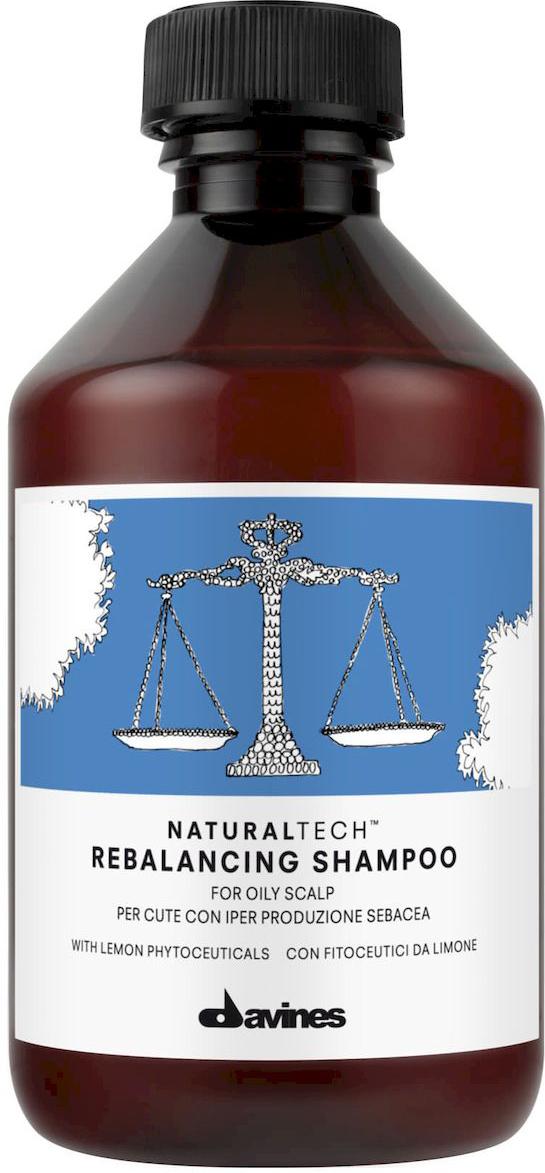 Davines Балансирующий шампунь New Natural Tech Rebalancing Shampoo, 250 мл71164Балансирующий шампунь регулирует активность сальных желез и секрецию кожного сала. В формулу шампуня включены фитоактивы из лимона, в которых содержится много витаминов, органических кислот и пектинов, стимулирующих рост волос. Действие этого витаминного комплекса усиливают экстракты имбиря, корицы, кровохлебки. Эти экстракты не только заживляют ранки на коже головы и обладают противовоспалительным действием, но и мягко успокаивают кожу головы. рH 5,5.