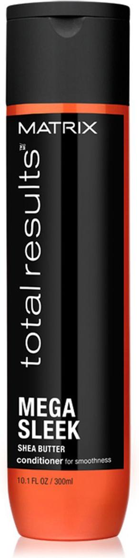 Matrix Total Results Mega Sleek Кондиционер с маслом ши, 300 млE1574900Кондиционер Mega Sleek (Мега Слик) с маслом ши укрощает непослушные волосы, защищает от влажности, придаёт волосам гладкость*.*При использовании системы из шампуня, кондиционера и несмываемого крема.