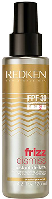 Redken Frizz Dismiss Instant Deflate Несмываемая сыворотка, 125 млP1050000Сыворотка Redken Frizz Dismiss Instant Deflate представляет собой насыщенную маслами эссенцию, которая питает, увлажняет и разглаживает волосы. Кроме того, в состав средства входят специальные влагоотталивающие элементы, не позволяющие волосам пушиться в сырую погоду.Также сыворотка качественно защищает волосы от воздействия от высоких температур. Вы можете использовать это средство при укладке с помощью утюжка или фена.