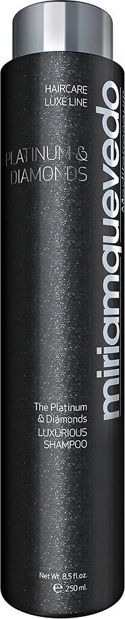 Miriam Quevedo Бриллиантовый шампунь-люкс с Платиной (Platinum and Diamonds Luxurious shampoo) 250 млMQ304Бриллиантовый шампунь отличается своей исключительной формулой, в которую входят Платиновая пудра, Бриллиантовая пудра, , масло Арганы, Термальные воды из Горячих источников южного французского городка, органический экстракт Заманихи, экстракт Асаи и другие компоненты, помогающие восстановлению структуры волоса, придающие Бриллиантовый блеск и обладающие антистатическим действием.Активные ингридиенты шампуня направлены на борьбу против старения волос, восстанавливают объем, шелковистость.