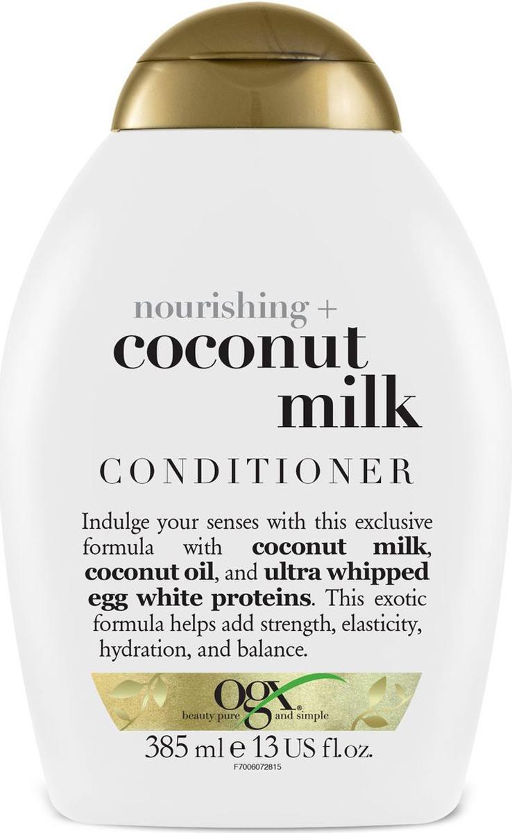 OGX Питательный кондиционер с кокосовым молоком, 385 млADAR0007Питательный кондиционер с кокосовым молоком– питает и увлажняет волосы, придавая им гладкость и блеск, кокосовое масло, входящее в состав продукта наполняет волосы влагой от корней до самых кончиков, восстанавливая водный баланс. Придает волосам силу.