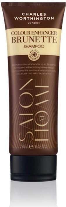 Charles Worthington Шампунь для поддержания цвета окрашенных волос Насыщенный брюнет, 250 мл.R5222Этот очищающий шампунь, обогащенный экстрактом хны и карамели, усиливает темные оттенки волос и придает заметный блеск. UV-фильтр и технология защиты цвета защищает волосы от выгорания и вымывания цвета, делая их сияющими и шелковистыми. Благодаря специальной технологии FragranceLock ™, шампунь придает волосам стойкий приятный аромат, которым Вы будете наслаждаться в течение всего дня