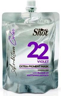 Shot Ambition Colour Extra Pigment Mask Violet - Тонирующая маска экстра пигмент 22, фиолетовый 200 млSHAM22Маска прямого действия готова к применению и обладает окрашивающими и восстанавливающими свойствами. Содержит Экстракт плодов Баобаба, касторовое масло и цветочные экстракты. Идеальное средство для окрашивания и тонирования, так как содержит особо стойкие пигменты. Придает блеск волосам и облегчает расчесывание.