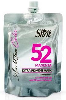 Shot Ambition Colour Extra Pigment Mask Magenta - Тонирующая маска экстра пигмент 52, пурпурный 200 млSHAM52Маска прямого действия готова к применению и обладает окрашивающими и восстанавливающими свойствами. Содержит Экстракт плодов Баобаба, касторовое масло и цветочные экстракты. Идеальное средство для окрашивания и тонирования, так как содержит особо стойкие пигменты. Придает блеск волосам и облегчает расчесывание.