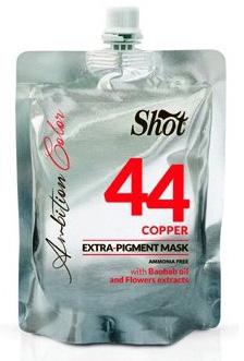 Shot Ambition Colour Extra Pigment Mask Copper - Тонирующая маска экстра пигмент 44, медный 200 млA7808628Маска прямого действия готова к применению и обладает окрашивающими и восстанавливающими свойствами. Содержит Экстракт плодов Баобаба, касторовое масло и цветочные экстракты. Идеальное средство для окрашивания и тонирования, так как содержит особо стойкие пигменты. Придает блеск волосам и облегчает расчесывание.