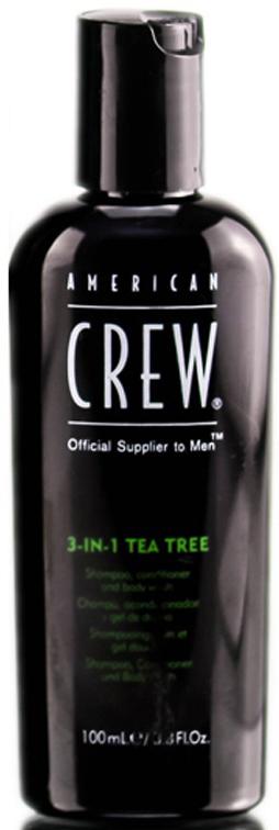 American Crew Tea Tree 3-in-1 Средство 3 в 1 Шампунь, Кондиционер и Гель для душа Чайное дерево, 100 мл7240519000p>Любите универсальные продукты для принятия водных процедур? Тогда вам непременно понравится разработка мастеров торговой марки American Crew! Средство для ухода за волосами и телом Чайное дерево совместило в себе преимущества геля для душа, шампуня и кондиционера. Отличный выбор для тех, кто постоянно опаздывает на работу или часто путешествует!Продукт содержит масло чайного дерева, которое отличается мощным дезинфицирующим действием. Экстракты хмеля и шалфея бережно ухаживают за волосами, даря им шелковистую мягкость, ослепительный блеск и силу. Продукт обладает насыщенным ароматом, который будет радовать своей свежестью до 8 часов! Настоящая находка для тех, кто обожает окружать себя стойкими ароматами. Средство обладает мягкой сбалансированной формулой и подходит для частого применения. Применение: нанести небольшое количество шампуня на мокрые волосы и кожу головы, остановить, после чего тщательно смыть водой. При необходимости повторить. Избегать контакта с глазами.Объем: 100 мл