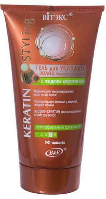 Витэкс Keratin Styling Гель для укладки волос быстросохнущий с жидким кератином супер сильная фиксация, 150 млV-569Назначение: Средства для укладки волосЛиния: Keratin StylingСТАЙЛИНГ и ВОССТАНОВЛЕНИЕ Быстросохнущий гель для волос идеален для моделирования даже самых сложных причесок. Специальная формула обеспечит суперсильную фиксацию в течение всего дня, одновременно защищая волосы и не утяжеляя их. Волосы наполняются жизненной силой и блеском, выглядят красивыми и здоровыми.Формула с жидким кератином:обеспечивает суперсильную фиксацию прически 24 ч приподнимает волосы у корней, создает дополнительный объем восстанавливает структуру волос, уменьшает их ломкость защищает от пересушивания УФ-защита - 4