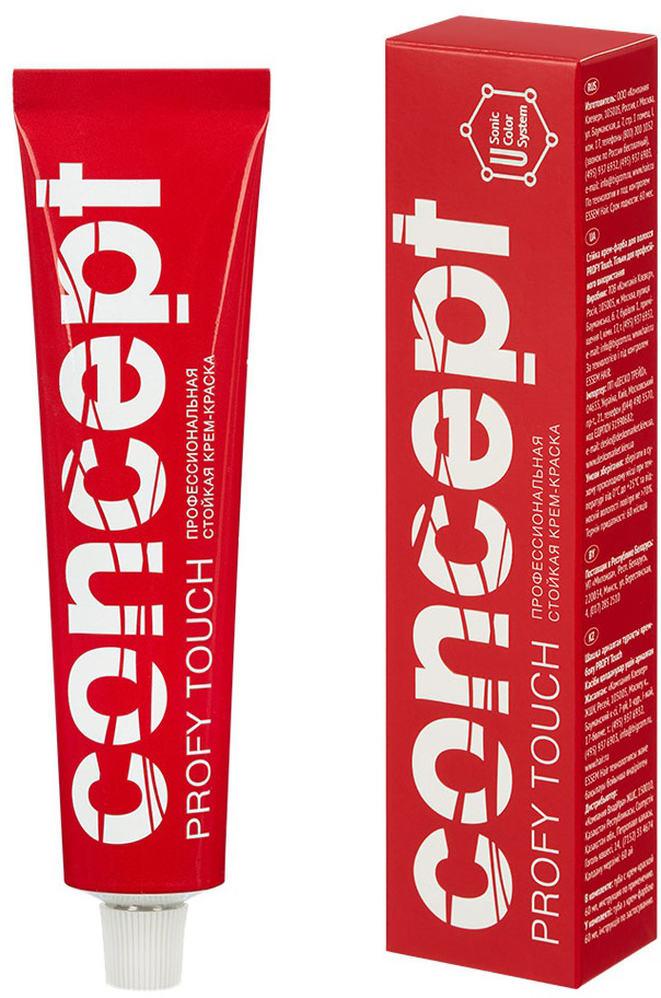 Сoncept Стойкая крем-краска для волос Permanent color cream Profy Touch 2016. 5.77 Интенсивный темно-коричневый (Intensive Dark Brown Blond) 2016, 60 мл33293-краска предназначена для стойкого окрашивания и интенсивного тонирования волос. Специальные красители в комплексе с ухаживающими компонентами обеспечивают глубокое проникновение крем-краски в структуру волос, 100% закрашивание седины, глубокий, насыщенный цвет и жизненную силу волос. Особое соотношение ингредиентов в рецептуре красителей позволяет сделать перманентное окрашивание не только очень стойким, но и максимально бережным. Все оттенки палитры легко смешиваются между собой, обеспечивая творческим поискам мастера безграничность. Применение специально разработанных микстонов и корректоров позволяет получать любые по насыщенности и интенсивности оттенки. В состав продукта включены кедровое масло, витамины С и В5, хитозан, глюкоза ухаживающие за структурой волос во время процедуры окрашивания. Низкий процент содержания аммиака, легкое смешивание и пластичность массы обеспечивают комфорт при использовании Сoncept PROFY TOUCH для мастера и клиента. В процессе окрашивания волосы получают оптимальный уход за счет уникального комплекса «ViPL». Его разработка — результат сотрудничества российских и немецких химиков-технологов. Название комплекса подчеркивает натуральность большинства компонентов, составляющих кремовую основу стойкой краски Сoncept Profy Touch. В нем зашифрованы понятия: Vital — от латинского vita (жизнь) – жизнеспособная, стойкая, активная. Plantation — растительная, натуральная. Line — линейка, система. Иными словами, комплекс ViPL — это система жизненнонеобходимых натуральных растительных и витаминных добавок и действующих веществ.85 базовых тонов7 экстра светлых тонов осветляющего ряда6 микстонов7 ультрамодных креативных тонов ART Эпатаж5 специальных оттенков для тонирования 2 корректора