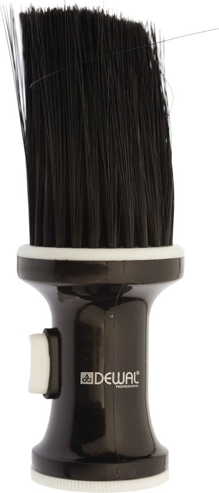 Dewal Кисть-сметка, настольная, с емкостью для талька, искусственная щетина, цвет: черныйNB002BlackКисть сметка с емкостью для талька Dewal Proffessional изготовлена из высококачественного пластикаИскусственная щетинаРучка полая с винтовой крышечкойВ ручку засыпается тальк и при нажатии боковой кнопки попадает на щетинуОтлично убирает мелкие волосы после стрижкиДанный аксессуар станет надежным помощником для мастера, обеспечив легкую и комфортную работу после завершения стрижки