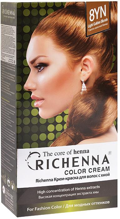 Richenna Крем-краска для волос, с хной, оттенок 8YN Светло-золотой блонд29006Крем-краска для волос Richenna с хной позволяет уменьшить повреждение волос, сделать их эластичными и здоровыми, придать волосам живой цвет и красивый блеск. Не раздражая кожу, крем-краска полностью закрашивает седину и обладает приятным цветочным ароматом. Рекомендуется для безопасного изменения цвета волос, полного окрашивания седых волос и в случае повышенной чувствительности к искусственным компонентам краски для волос. Благодаря кремовой текстуре хорошо наносится и не течет. Время окрашивания 20-30 минут. Упаковка средства в 2-х отдельных тубах позволяет использовать средство несколько раз в зависимости от объема и длины волос. Объем крема-краски 60 г, объем крема-окислителя 60 г, объем шампуня с хной 10 мл, объем кондиционера с хной 7 мл. В комплекте: 1 тюбик с крем-краской, 1 тюбик с крем-окислителем, пакетик с шампунем, пакетик с кондиционером, 1 пара перчаток, накидка, пластиковая тара, расческа-кисточка для нанесения и распределения крем-краски и инструкция по применению. Товар сертифицирован.