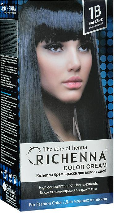 Richenna Крем-краска для волос, с хной, 1B. Иссиня-черный29005Крем-краска для волос Richenna с хной рекомендуется для безопасного изменения цвета волос, полного окрашивания седых волос и в случае повышенной чувствительности к искусственным компонентам краски для волос.Высокая концентрация экстракта хны в составе крем-краски позволяет уменьшить повреждение волос, сделать их эластичными и здоровыми, придает волосам живой цвет и красивый блеск. Не раздражая кожу, крем-краска полностью закрашивает седину и обладает приятным цветочным ароматом.Упаковка средства в 2-х отдельных тубах позволяет использовать средство несколько раз в зависимости от объема и длины волос. Благодаря кремовой текстуре хорошо наносится и не течет. Время окрашивания 20-30 мин. Характеристики:Номер краски: 1B. Цвет: иссиня-черный. Объем крем-краски: 60 г. Объем крем-окислителя: 60 г. Объем шампуня с хной: 10 мл. Объем кондиционера с хной: 7 мл. Производитель: Корея. В комплекте: 1 тюбик с крем-краской, 1 тюбик с крем-окислителем, 1 пакетик с шампунем, 1 пакетик с кондиционером, 1 пара перчаток, накидка, пластиковая тара, расческа-кисточка для нанесения и распределения крем-краски и инструкция по применению. Товар сертифицирован.ВНИМАНИЕ! Продукт может вызвать аллергическую реакцию, которая в редких случаях может нанести серьезный вред вашему здоровью. Проконсультируйтесь с врачом-специалистом передприменением любых окрашивающих средств.УВАЖАЕМЫЕ КЛИЕНТЫ!Обращаем ваше внимание на измененный дизайн упаковки. Поставка возможна в зависимости от наличия на складе. Комплектация осталась без изменений.