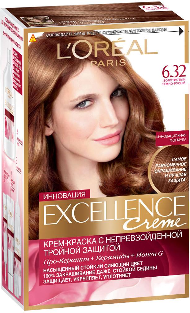 LOreal Paris Стойкая крем-краска для волос Excellence, оттенок 6.32, Золотистый темно-русыйA7140328Крем-краска для волос Экселанс защищает волосы до, во время и после окрашивания. Уникальная формула краскииз Керамида, Про-Кератина и активного компонента Ионена G, которые обеспечивают 100%-ное окрашивание седины и способствуют длительному сохранению интенсивности цвета. Сыворотка, входящая в состав краски, оказывает лечебное действие, восстанавливая поврежденные волосы, а густая кремовая текстура краски обволакивает каждый волос, насыщая его интенсивным цветом. Специальный бальзам-уход делает волосы плотнее, укрепляет их, восстанавливая естественную эластичность и силу волос. В состав упаковки входит: защищающая сыворотка (12 мл), флакон-аппликатор с проявителем (72 мл), тюбик с красящим кремом (48 мл), флакон с бальзамом-уходом (60 мл), аппликатор-расческа, инструкция, пара перчаток.1. Укрепляет волосы 2. Защищает их 3. Придает волосам упругость 3. Насыщеннный стойкий сияющий цвет 4. Закрашивает до 100% седых волос