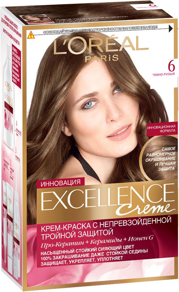 LOreal Paris Стойкая крем-краска для волос Excellence, оттенок 6, Темно-русыйA7770128Крем-краска для волос Экселанс защищает волосы до, во время и после окрашивания. Уникальная формула краскииз Керамида, Про-Кератина и активного компонента Ионена G, которые обеспечивают 100%-ное окрашивание седины и способствуют длительному сохранению интенсивности цвета. Сыворотка, входящая в состав краски, оказывает лечебное действие, восстанавливая поврежденные волосы, а густая кремовая текстура краски обволакивает каждый волос, насыщая его интенсивным цветом. Специальный бальзам-уход делает волосы плотнее, укрепляет их, восстанавливая естественную эластичность и силу волос. В состав упаковки входит: защищающая сыворотка (12 мл), флакон-аппликатор с проявителем (72 мл), тюбик с красящим кремом (48 мл), флакон с бальзамом-уходом (60 мл), аппликатор-расческа, инструкция, пара перчаток.1. Укрепляет волосы 2. Защищает их 3. Придает волосам упругость 3. Насыщеннный стойкий сияющий цвет 4. Закрашивает до 100% седых волос