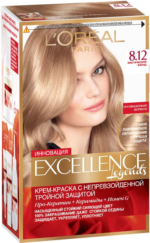 LOreal Paris Стойкая крем-краска для волос Excellence, оттенок 8.12, Мистический блондC4532710Крем-краска для волос Экселанс защищает волосы до, во время и после окрашивания. Уникальная формула краскииз Керамида, Про-Кератина и активного компонента Ионена G, которые обеспечивают 100%-ное окрашивание седины и способствуют длительному сохранению интенсивности цвета. Сыворотка, входящая в состав краски, оказывает лечебное действие, восстанавливая поврежденные волосы, а густая кремовая текстура краски обволакивает каждый волос, насыщая его интенсивным цветом. Специальный бальзам-уход делает волосы плотнее, укрепляет их, восстанавливая естественную эластичность и силу волос. В состав упаковки входит: защищающая сыворотка (12 мл), флакон-аппликатор с проявителем (72 мл), тюбик с красящим кремом (48 мл), флакон с бальзамом-уходом (60 мл), аппликатор-расческа, инструкция, пара перчаток.1. Укрепляет волосы 2. Защищает их 3. Придает волосам упругость 3. Насыщеннный стойкий сияющий цвет 4. Закрашивает до 100% седых волос