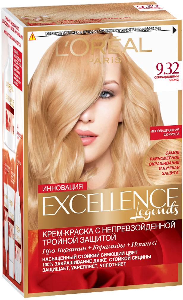 LOreal Paris Стойкая крем-краска для волос Excellence, оттенок 9.32, Сенсационный блондA7809128Крем-краска для волос Экселанс защищает волосы до, во время и после окрашивания. Уникальная формула краскииз Керамида, Про-Кератина и активного компонента Ионена G, которые обеспечивают 100%-ное окрашивание седины и способствуют длительному сохранению интенсивности цвета. Сыворотка, входящая в состав краски, оказывает лечебное действие, восстанавливая поврежденные волосы, а густая кремовая текстура краски обволакивает каждый волос, насыщая его интенсивным цветом. Специальный бальзам-уход делает волосы плотнее, укрепляет их, восстанавливая естественную эластичность и силу волос. В состав упаковки входит: защищающая сыворотка (12 мл), флакон-аппликатор с проявителем (72 мл), тюбик с красящим кремом (48 мл), флакон с бальзамом-уходом (60 мл), аппликатор-расческа, инструкция, пара перчаток.1. Укрепляет волосы 2. Защищает их 3. Придает волосам упругость 3. Насыщеннный стойкий сияющий цвет 4. Закрашивает до 100% седых волос